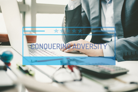 adversity: BUSINESS CONCEPT: CONQUERING ADVERSITY Stock Photo