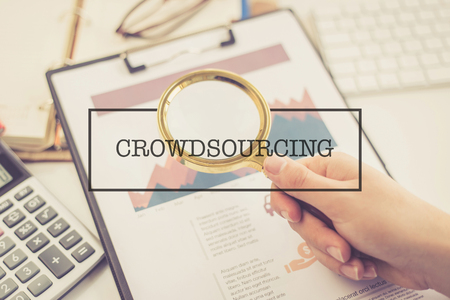 crowd source: BUSINESS AND FINANCE CONCEPT: CROWDSOURCING