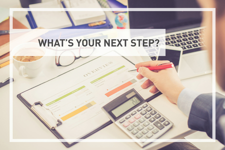 what's ahead: BUSINESS CONCEPT: WHATS YOUR NEXT STEP? Stock Photo