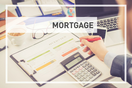borrowing: BUSINESS CONCEPT: MORTGAGE Stock Photo