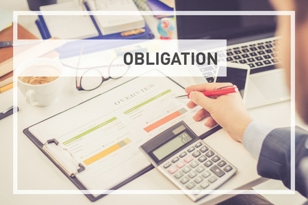 obliged: BUSINESS CONCEPT: OBLIGATION Stock Photo