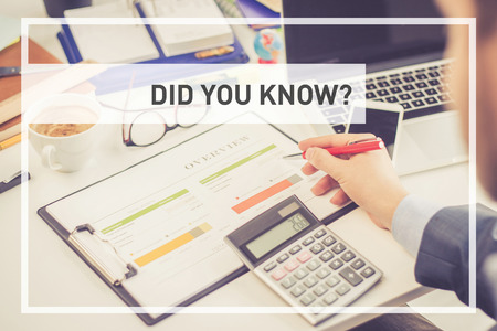 did: BUSINESS CONCEPT: DID YOU KNOW? Stock Photo