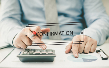 confirmacion: BUSINESS CONCEPT: CONFIRMATION Foto de archivo