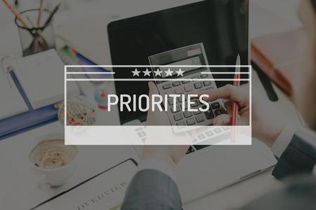 priorities: BUSINESS CONCEPT: PRIORITIES Stock Photo