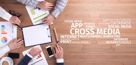 business graphics: Business Concept: Cross-Media Word Cloud