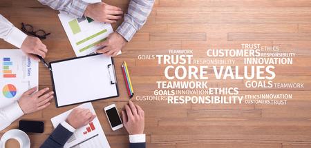 Business Concept: Core Values Word Cloud Stock Photo