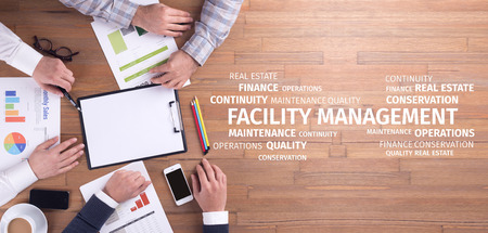 Business Concept: Facility Management Word Cloud Stok Fotoğraf