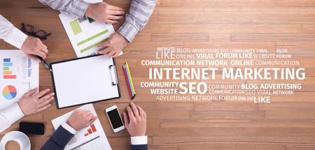 Business Concept: Internet Marketing Word Cloud Archivio Fotografico