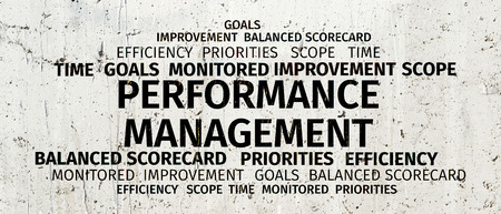overruns: Business Concept: Performance Management Word Cloud