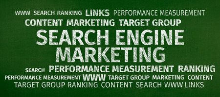 backlinks: Business Concept: Search Engine Marketing Word Cloud