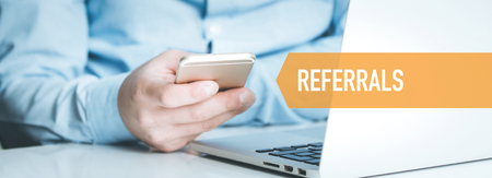 TECHNOLOGY CONCEPT: REFERRALS Stock Photo