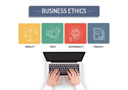 principle: BUSINESSMAN WORKING ON BUSINESS ETHICS CONCEPT Stock Photo