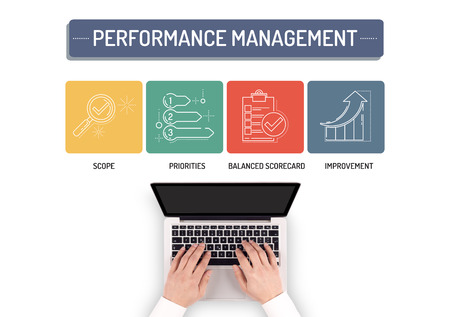 overruns: BUSINESSMAN WORKING ON PERFORMANCE MANAGEMENT CONCEPT