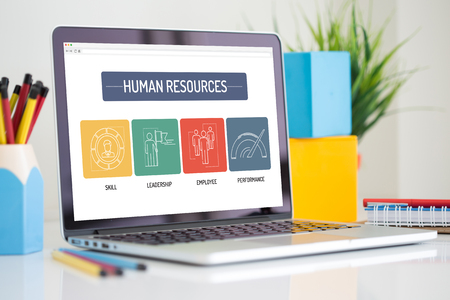 HUMAN RESOURCES ICON CONCEPT ON LAPTOP SCREEN