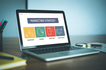 4p: MARKETING STRATEGY ICON CONCEPT ON LAPTOP SCREEN