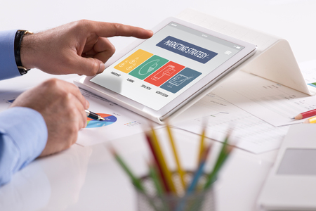4p: MARKETING STRATEGY CONCEPT ON TABLET SCREEN
