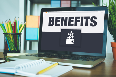 perks: Benefits Icon Concept on Laptop Screen