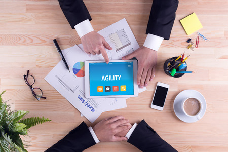 AGILITY CONCEPT ON TABLET PC SCREEN Stock Photo