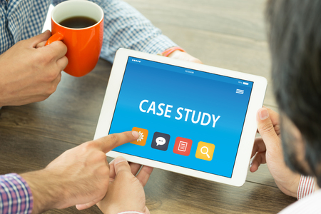 CASE STUDY CONCEPT ON TABLET PC SCREEN Stock Photo