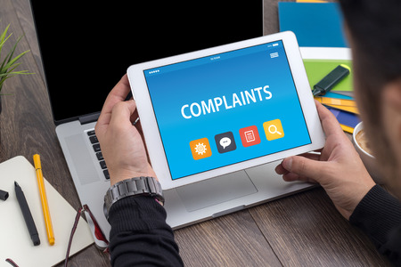 COMPLAINTS CONCEPT ON TABLET PC SCREEN