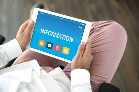 help me: INFORMATION CONCEPT ON TABLET PC SCREEN Stock Photo