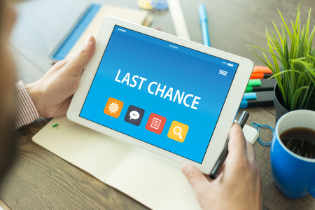 panicking: LAST CHANCE CONCEPT ON TABLET PC SCREEN Stock Photo