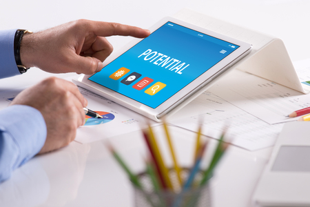 POTENTIAL CONCEPT ON TABLET PC SCREEN Stock Photo