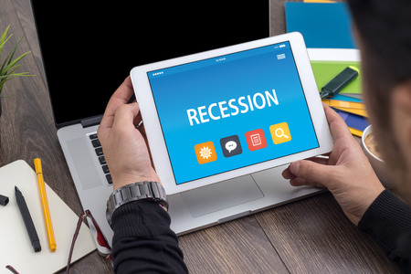 RECESSION CONCEPT ON TABLET PC SCREEN
