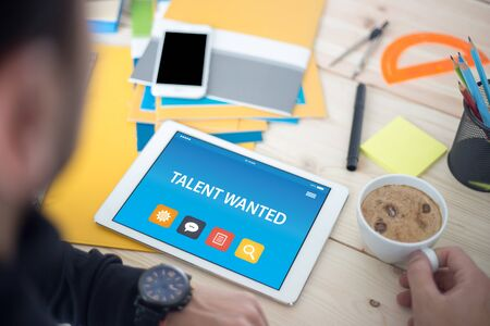 human potential: TALENT WANTED CONCEPT ON TABLET PC SCREEN