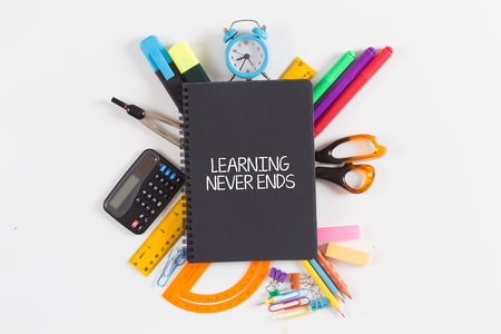 LEARNING NEVER ENDS concept Stock Photo