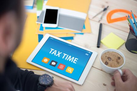 exemption: TAX TIME CONCEPT ON TABLET PC SCREEN