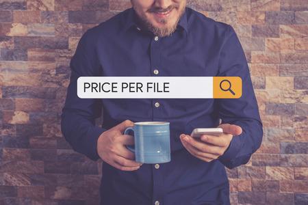 hypothec: PRICE PER FILE Concept Stock Photo
