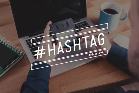 microblogging: #HASHTAG Concept Stock Photo