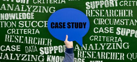 causation: Case Study Written Speech Bubble on Blackboard Stock Photo
