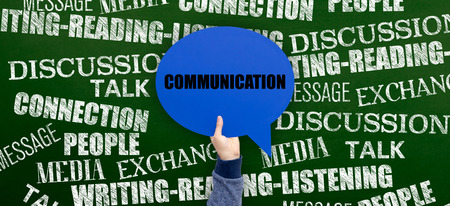 comunicación escrita: Communication Written Speech Bubble on Blackboard Foto de archivo