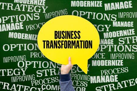 modernize: Business Transformation Written Speech Bubble on Blackboard