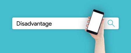 disadvantage: WEB SEARCH: DISADVANTAGE CONCEPT Stock Photo