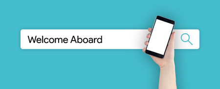 acceptable: WEB SEARCH: WELCOME ABOARD CONCEPT Stock Photo
