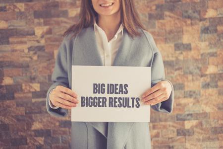 bigger: BIG IDEAS BIGGER RESULTS CONCEPT Stock Photo