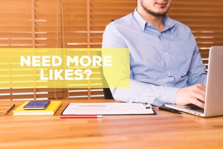 profile measurement: NEED MORE LIKES? CONCEPT Stock Photo