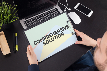 comprehension: COMPREHENSIVE SOLUTION CONCEPT Stock Photo
