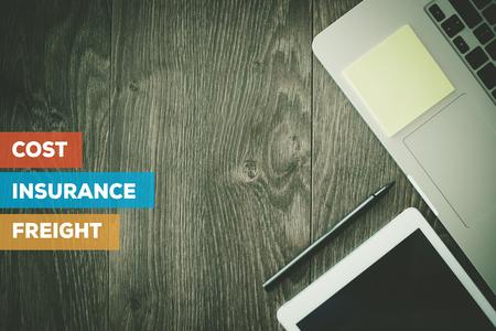 ASSURANCE CONCEPT COÛT FRET Banque d'images - 72178530