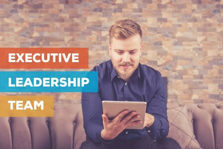 team leadership: EXECUTIVE LEADERSHIP TEAM CONCEPT Stock Photo