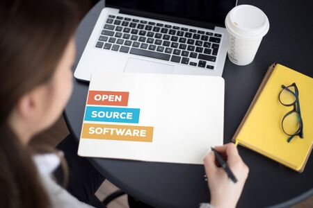 open source: OPEN SOURCE SOFTWARE CONCEPT Stock Photo