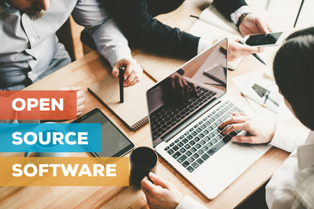 source: OPEN SOURCE SOFTWARE CONCEPT Stock Photo