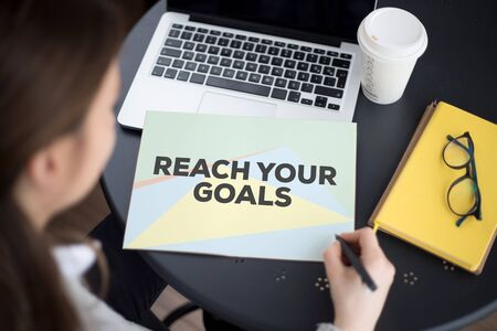 REACH YOUR GOALS CONCEPT Stock Photo