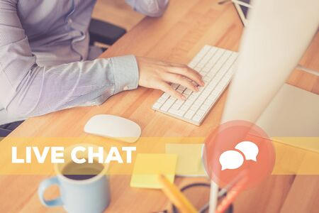 chat: LIVE CHAT CONCEPT Stock Photo