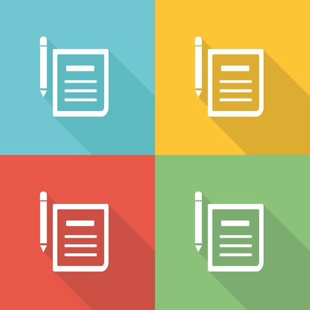 signing papers: Contract Flat Icon Concept