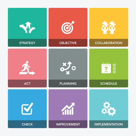 ACTION PLAN ICON SET Vectores