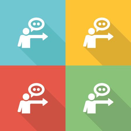 supervise: Coaching Flat Icon Concept Illustration